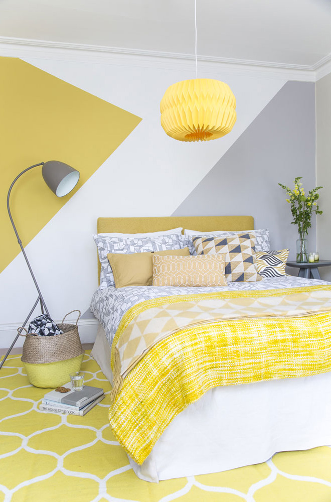Shape up your bedroom with  painted stripes in mustard yellow and cloud grey for the perfect colour combo