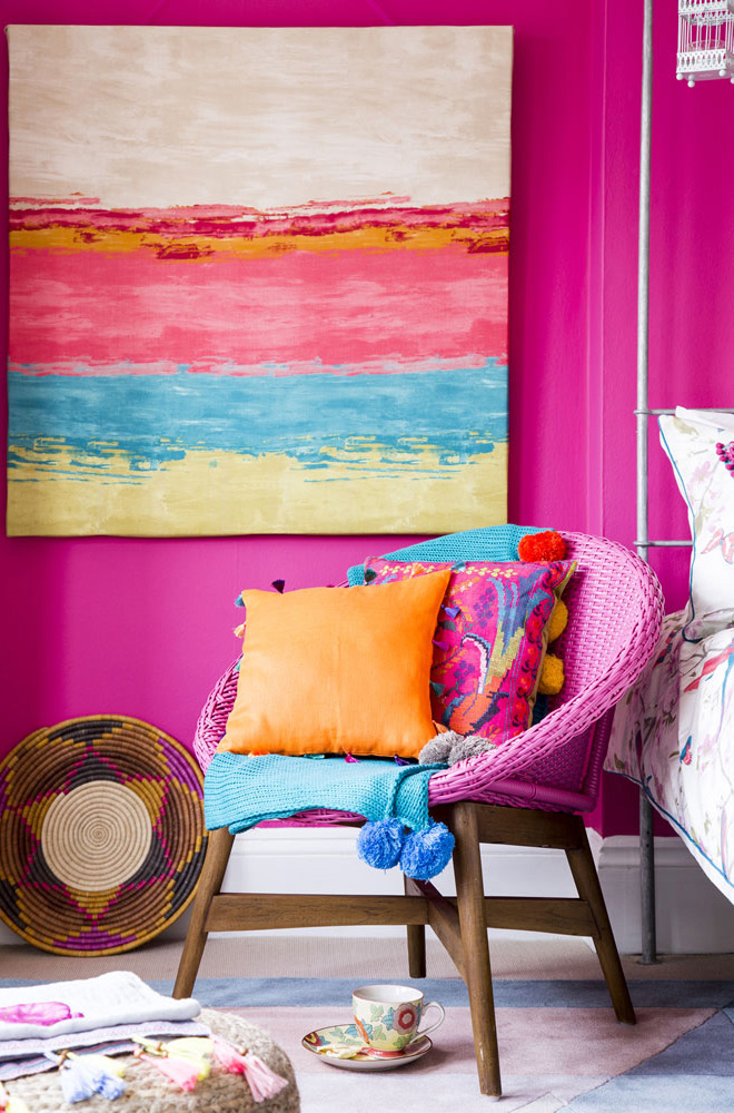 Bedroom with flashes of sky-blue, hot pink and sweet orange to create a zingy carnival feel